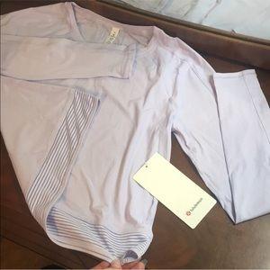 Lululemon Stripe in Stride Purple Long Sleeve Crop